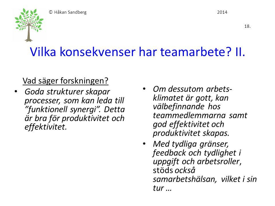 © Håkan Sandberg 2014 18. Vilka konsekvenser har teamarbete II.
