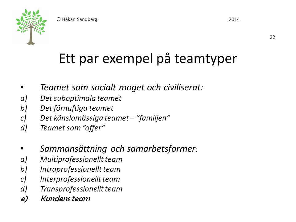 © Håkan Sandberg 2014 22. Ett par exempel på teamtyper