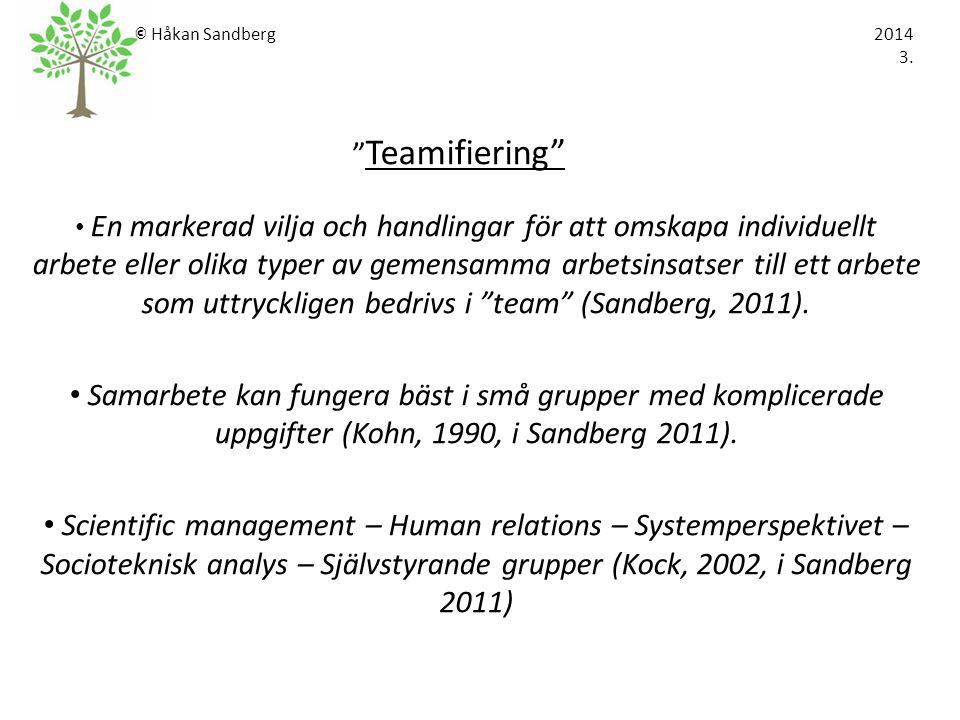 © Håkan Sandberg 2014 3. Teamifiering