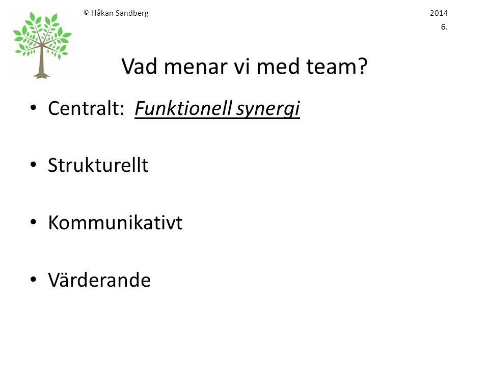 © Håkan Sandberg 2014 6. Vad menar vi med team
