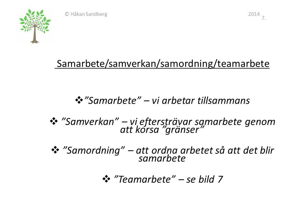 Samarbete/samverkan/samordning/teamarbete