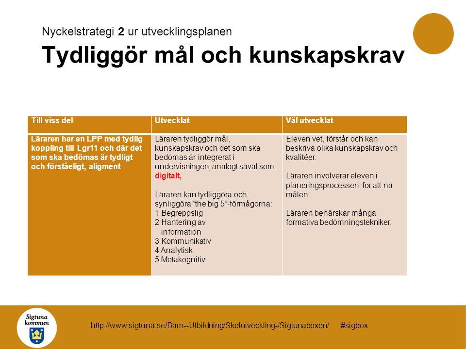 Nyckelstrategi 2 ur utvecklingsplanen Tydliggör mål och kunskapskrav