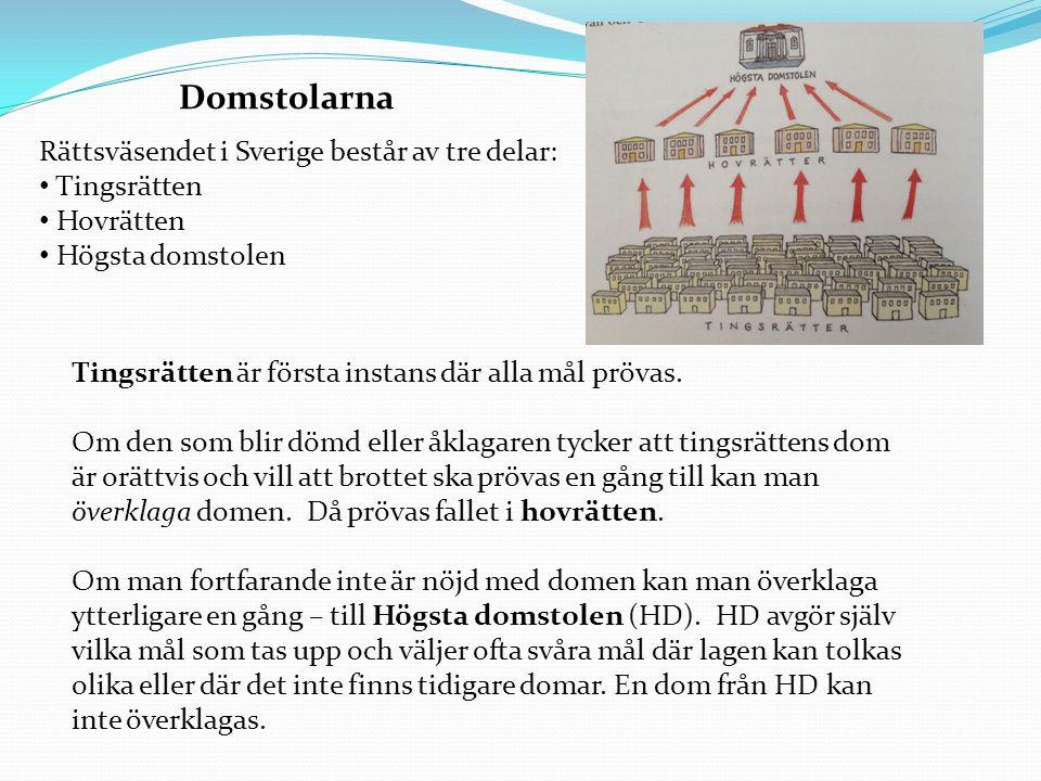 Domstolarna Rättsväsendet i Sverige består av tre delar: Tingsrätten