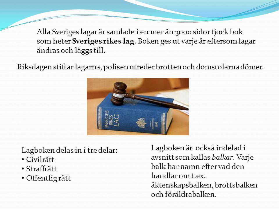 Alla Sveriges lagar är samlade i en mer än 3000 sidor tjock bok som heter Sveriges rikes lag. Boken ges ut varje år eftersom lagar ändras och läggs till.
