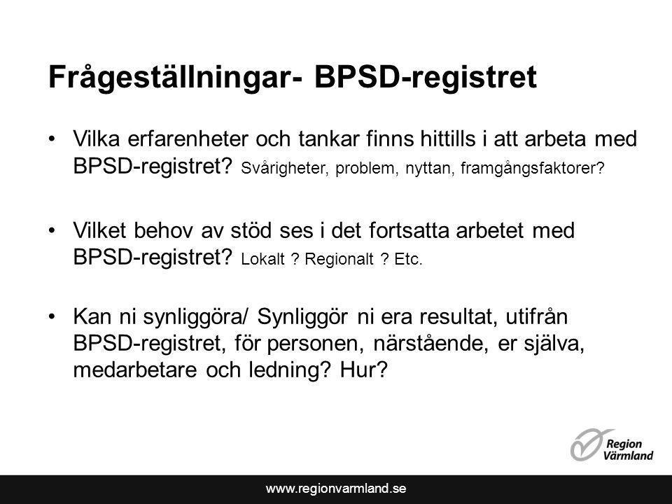 Frågeställningar- BPSD-registret
