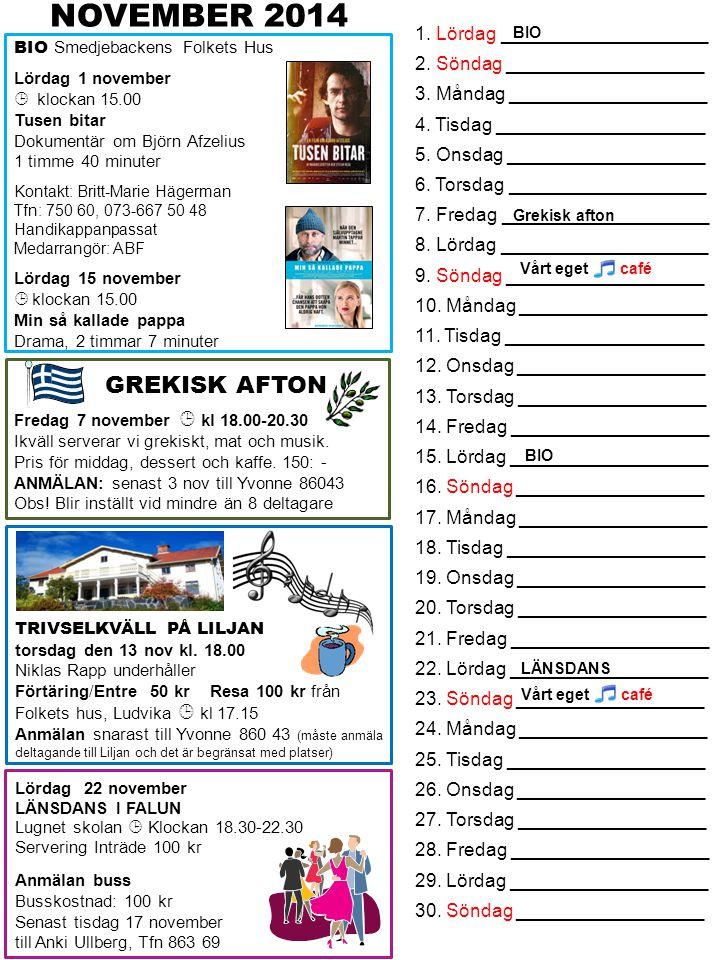 NOVEMBER 2014 GREKISK AFTON 1. Lördag ____________________