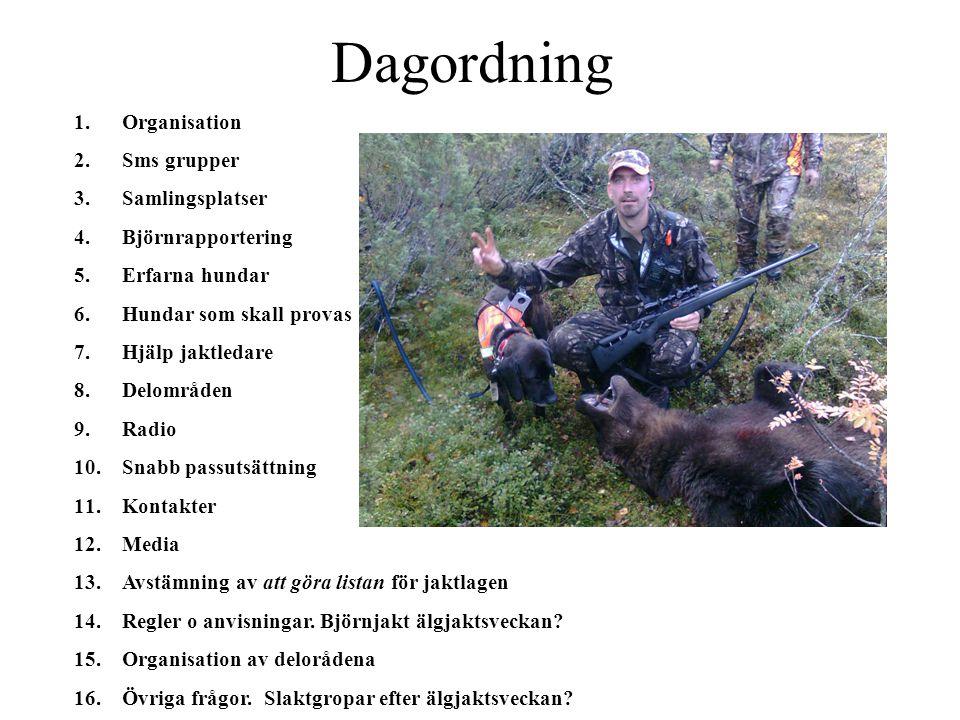 Dagordning Organisation Sms grupper Samlingsplatser Björnrapportering