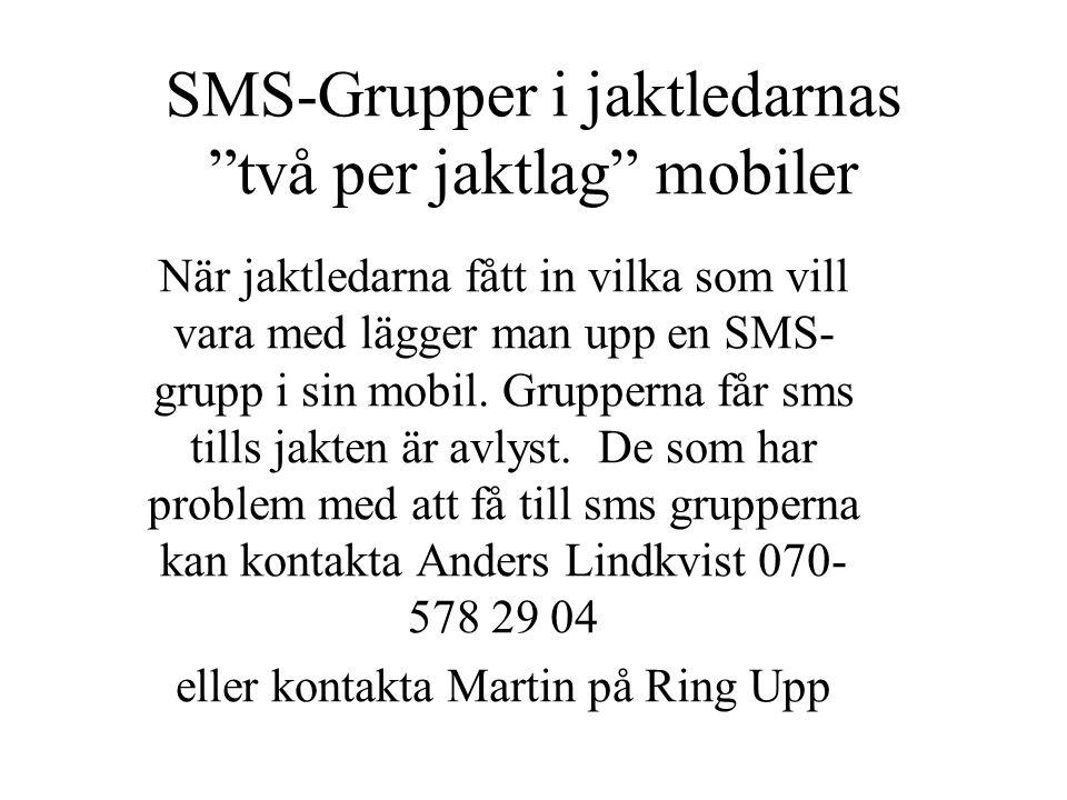 SMS-Grupper i jaktledarnas två per jaktlag mobiler