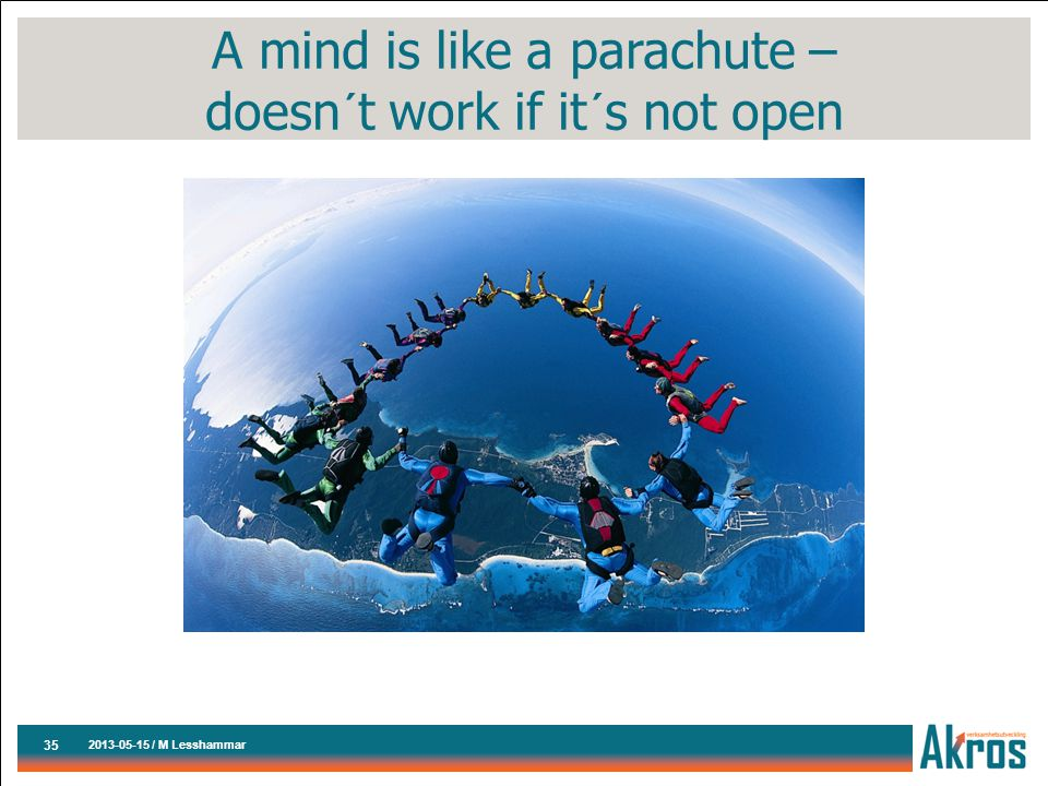 A mind is like a parachute – doesn´t work if it´s not open