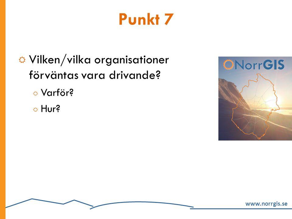 Punkt 7 Vilken/vilka organisationer förväntas vara drivande Varför
