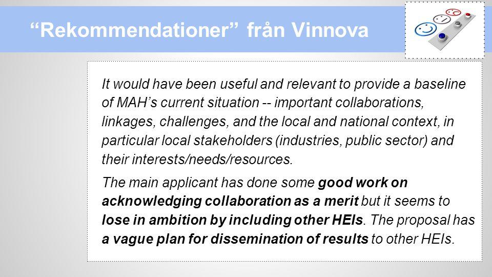 Rekommendationer från Vinnova