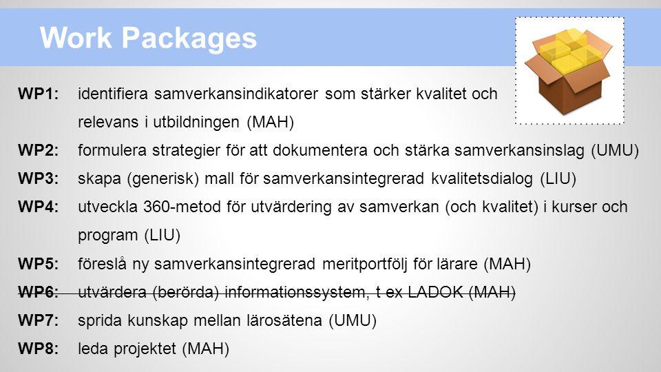 Work Packages WP1: identifiera samverkansindikatorer som stärker kvalitet och. relevans i utbildningen (MAH)