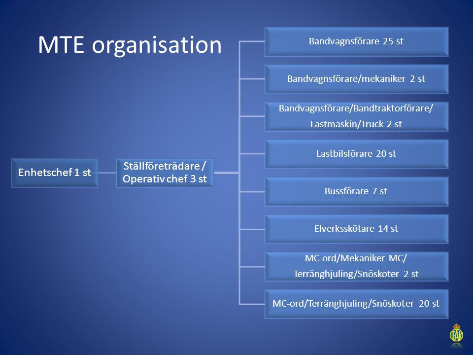MTE organisation Ställföreträdare / Operativ chef 3 st Enhetschef 1 st