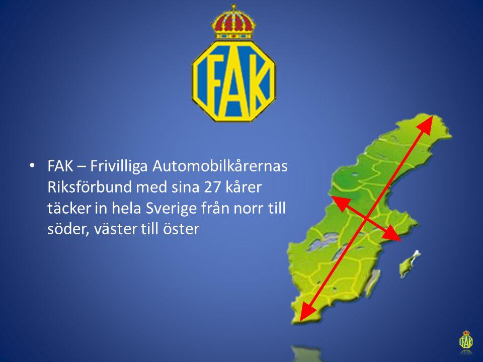 FAK – Frivilliga Automobilkårernas Riksförbund med sina 27 kårer täcker in hela Sverige från norr till söder, väster till öster