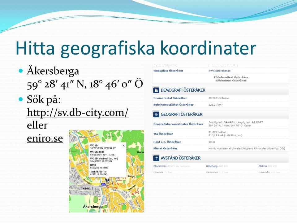Hitta geografiska koordinater