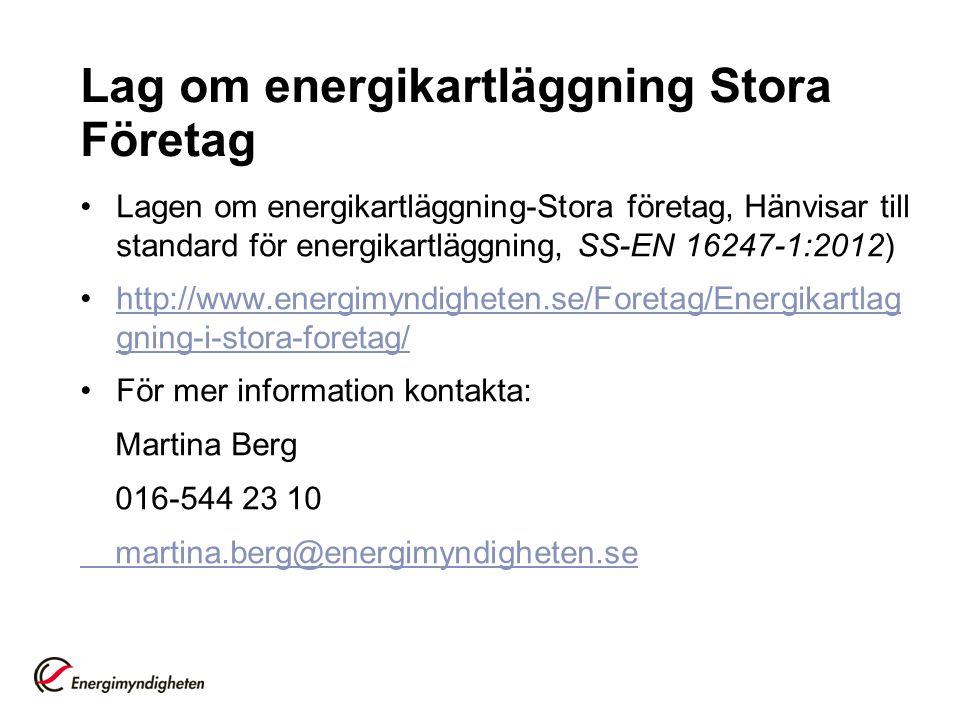 Lag om energikartläggning Stora Företag