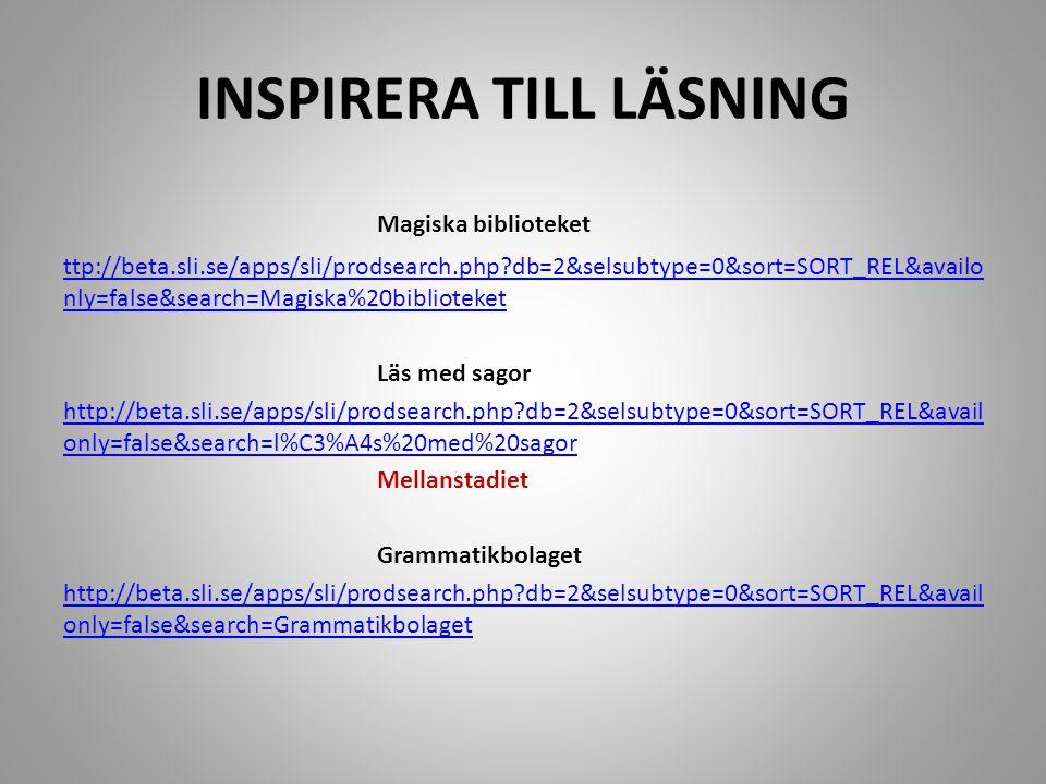 INSPIRERA TILL LÄSNING