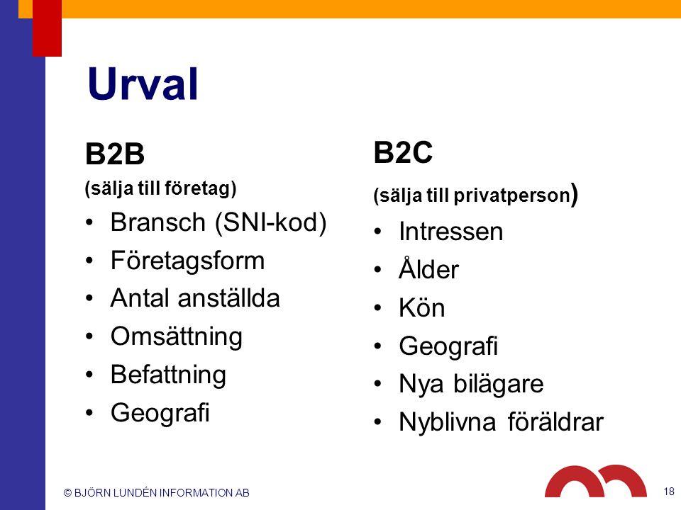 Urval B2B B2C Bransch (SNI-kod) Intressen Företagsform Ålder