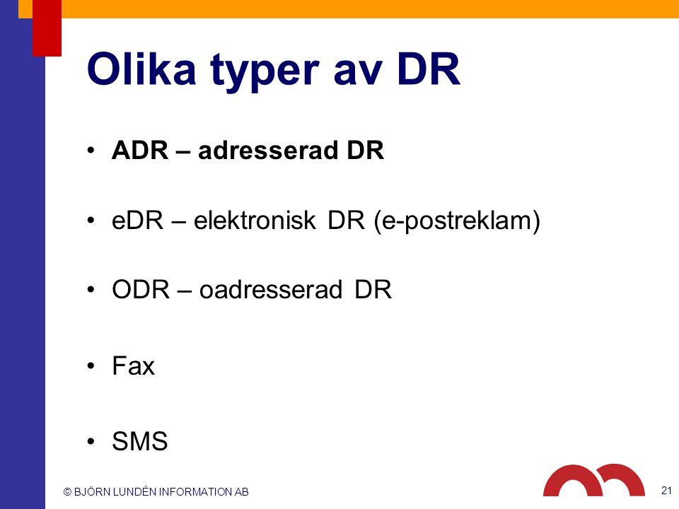 Olika typer av DR ADR – adresserad DR