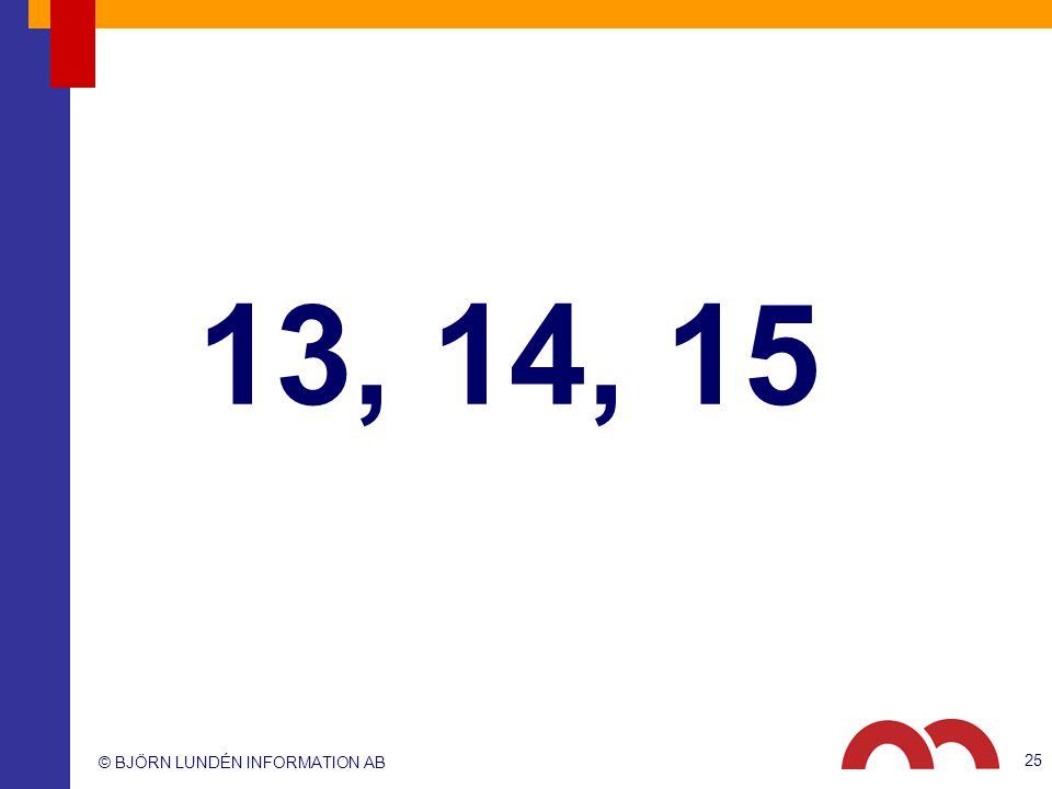 13, 14, 15