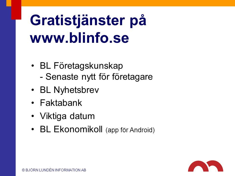 Gratistjänster på www.blinfo.se