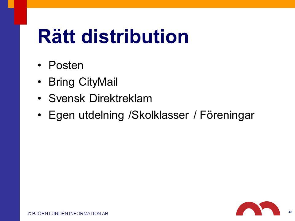 Rätt distribution Posten Bring CityMail Svensk Direktreklam