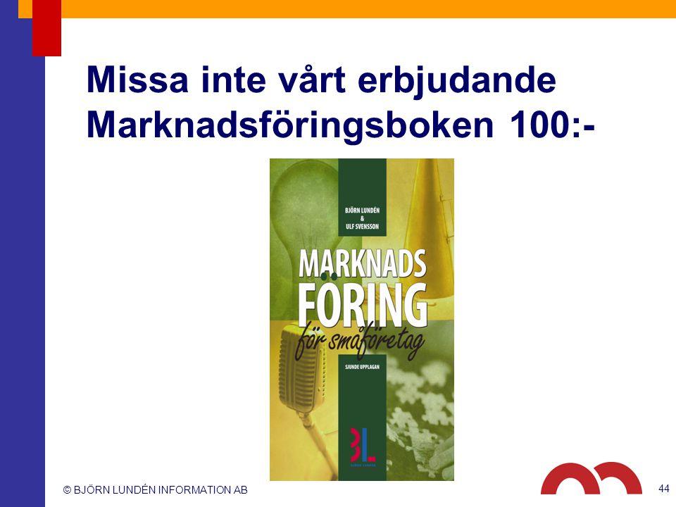 Missa inte vårt erbjudande Marknadsföringsboken 100:-
