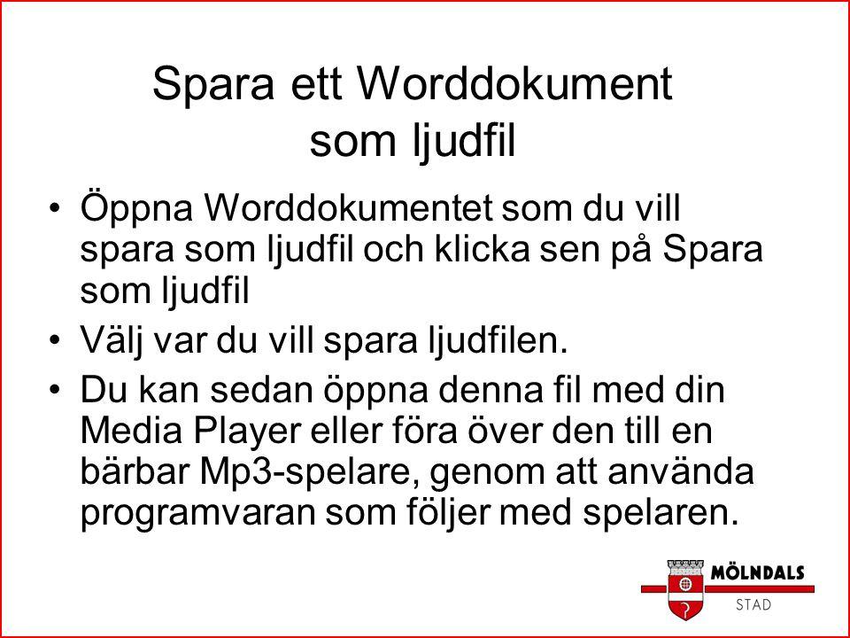 Spara ett Worddokument som ljudfil