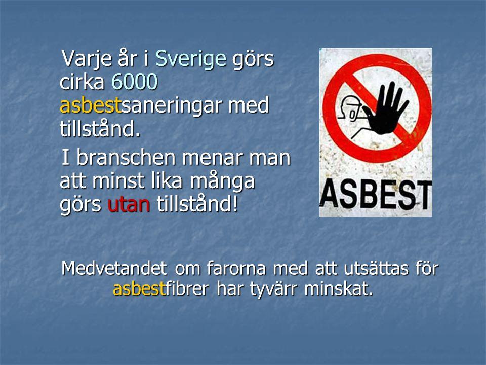Varje år i Sverige görs cirka 6000 asbestsaneringar med tillstånd.
