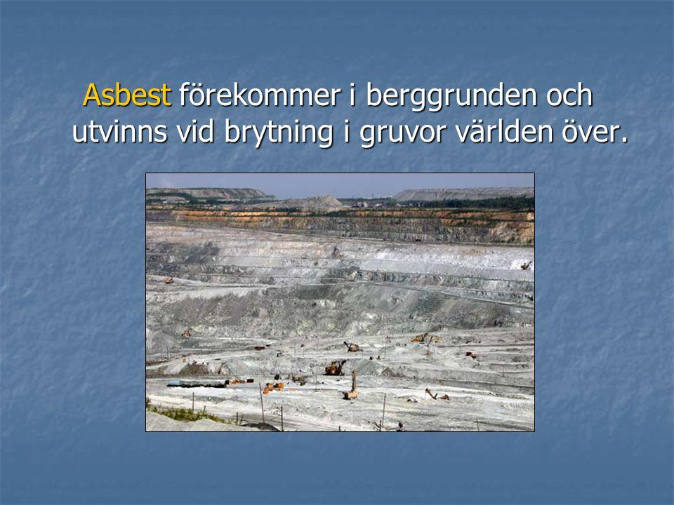 Asbest förekommer i berggrunden och utvinns vid brytning i gruvor världen över.