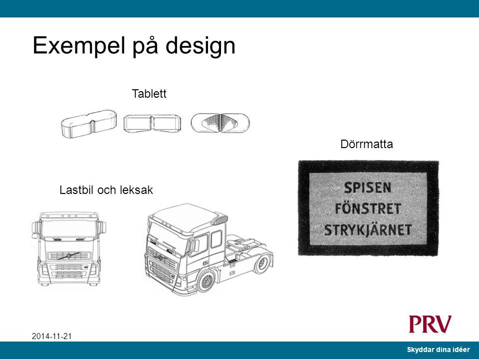 Exempel på design Tablett Dörrmatta Lastbil och leksak Exempel