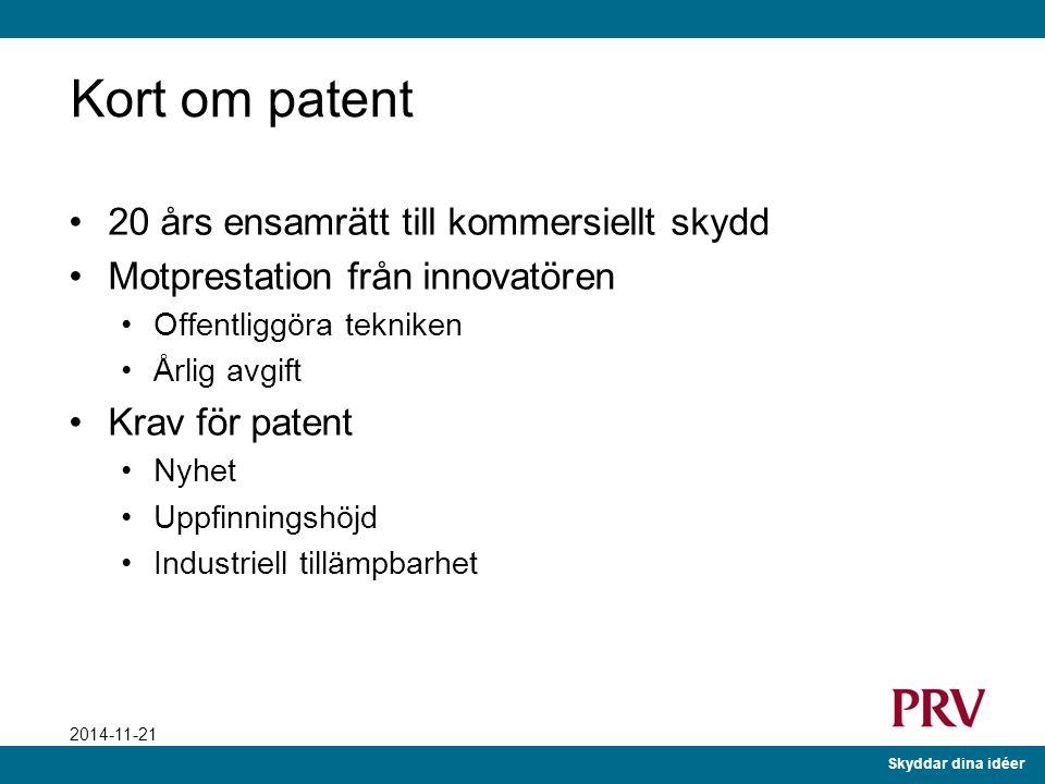 Kort om patent 20 års ensamrätt till kommersiellt skydd