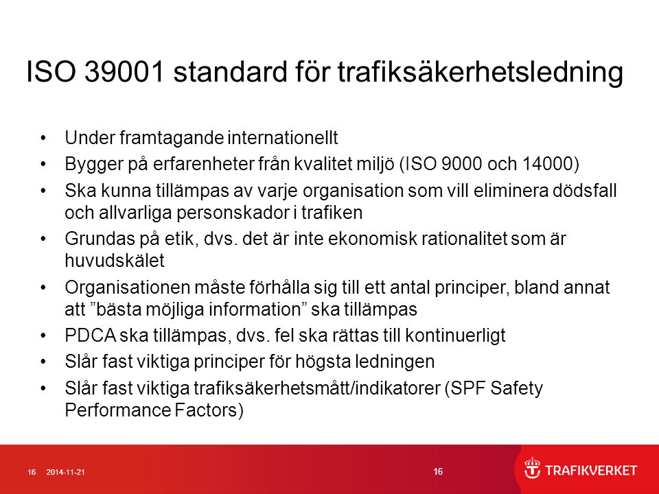 ISO 39001 standard för trafiksäkerhetsledning