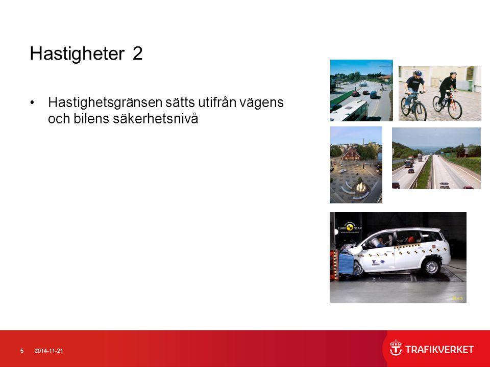 Hastigheter 2 Hastighetsgränsen sätts utifrån vägens och bilens säkerhetsnivå