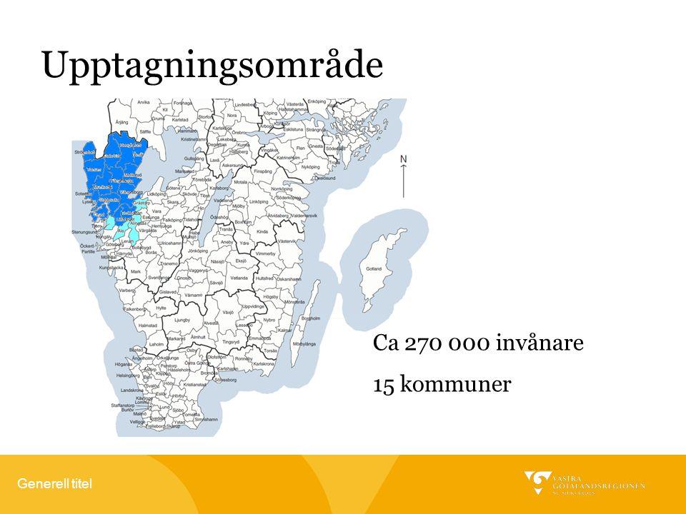 Upptagningsområde Ca 270 000 invånare 15 kommuner