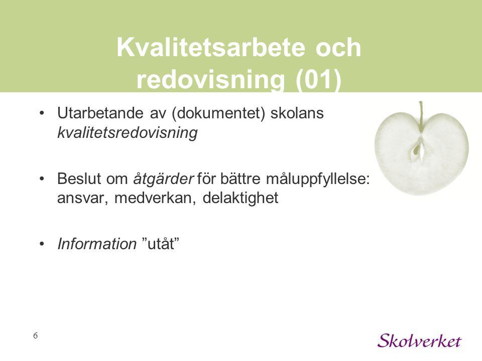 Kvalitetsarbete och redovisning (01)