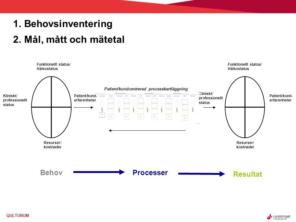 Behovsinventering Mål, mått och mätetal Behov Processer Resultat
