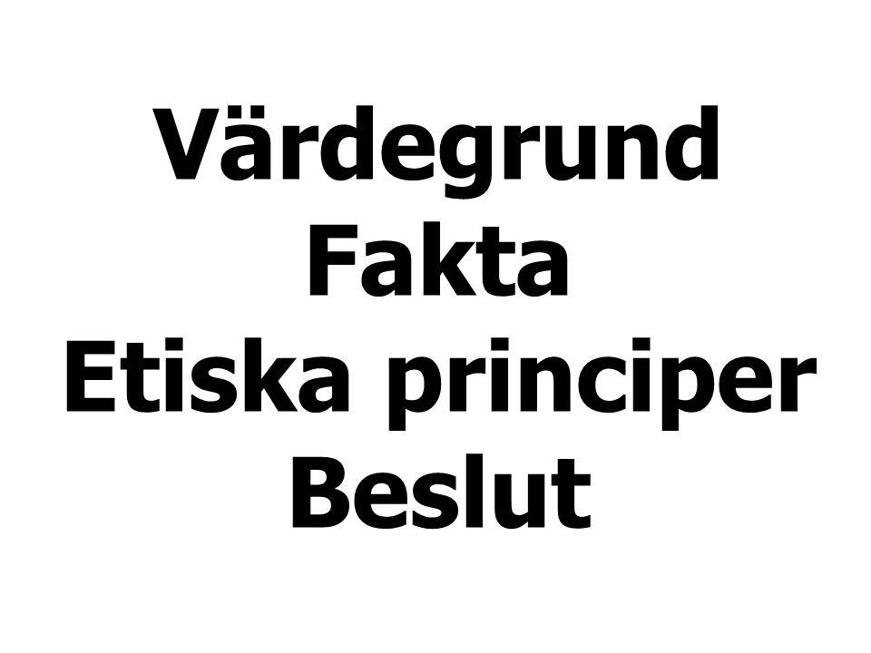 Värdegrund Fakta Etiska principer Beslut
