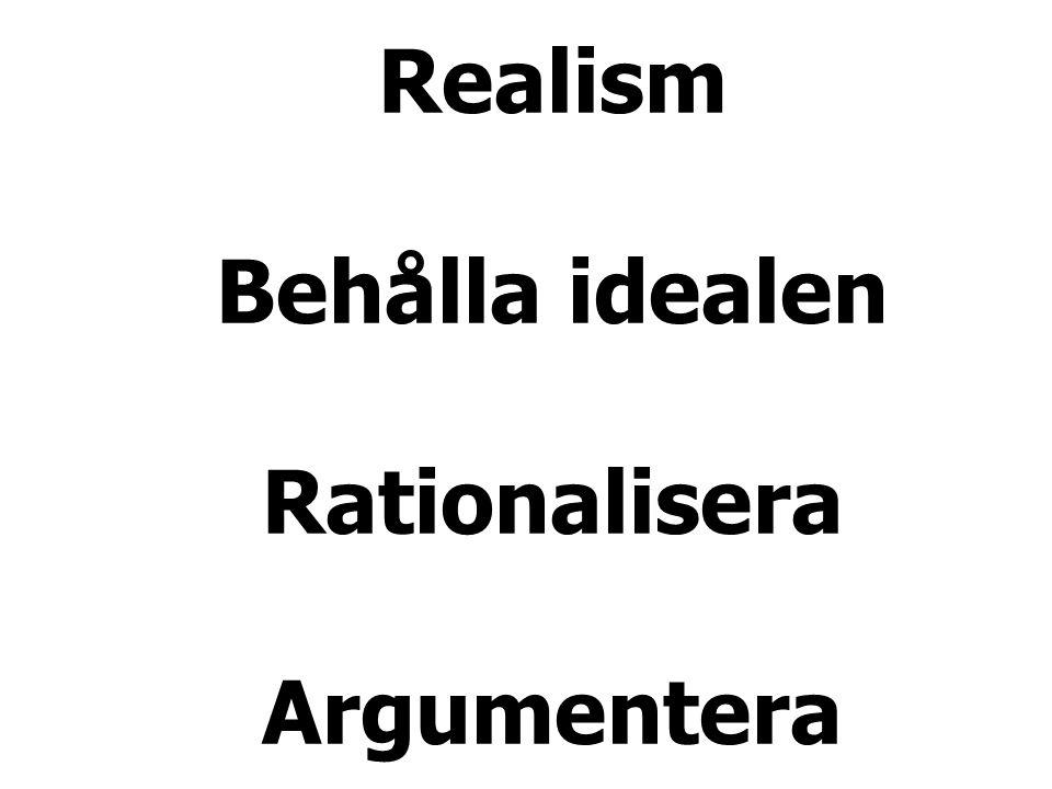 Realism Behålla idealen Rationalisera Argumentera