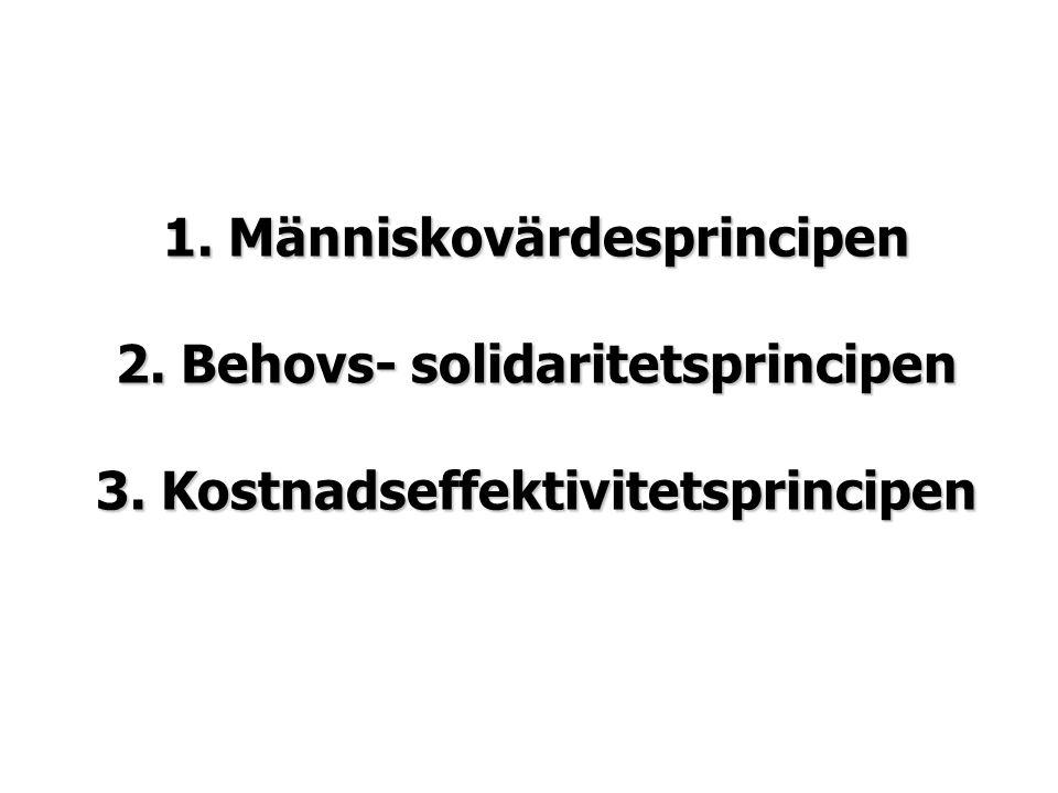 1. Människovärdesprincipen 2. Behovs- solidaritetsprincipen 3