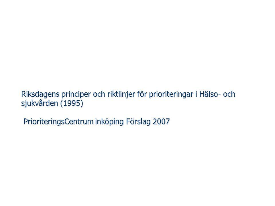 Riksdagens principer och riktlinjer för prioriteringar i Hälso- och sjukvården (1995) PrioriteringsCentrum inköping Förslag 2007
