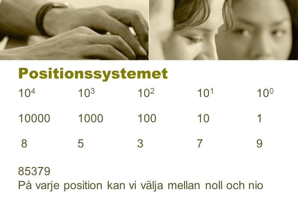 Positionssystemet 104 103 102 101 100. 10000 1000 100 10 1.