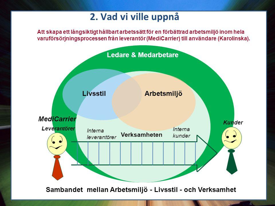 2. Vad vi ville uppnå Ledare & Medarbetare Livsstil Arbetsmiljö