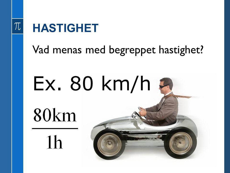 HASTIGHET Vad menas med begreppet hastighet Ex. 80 km/h