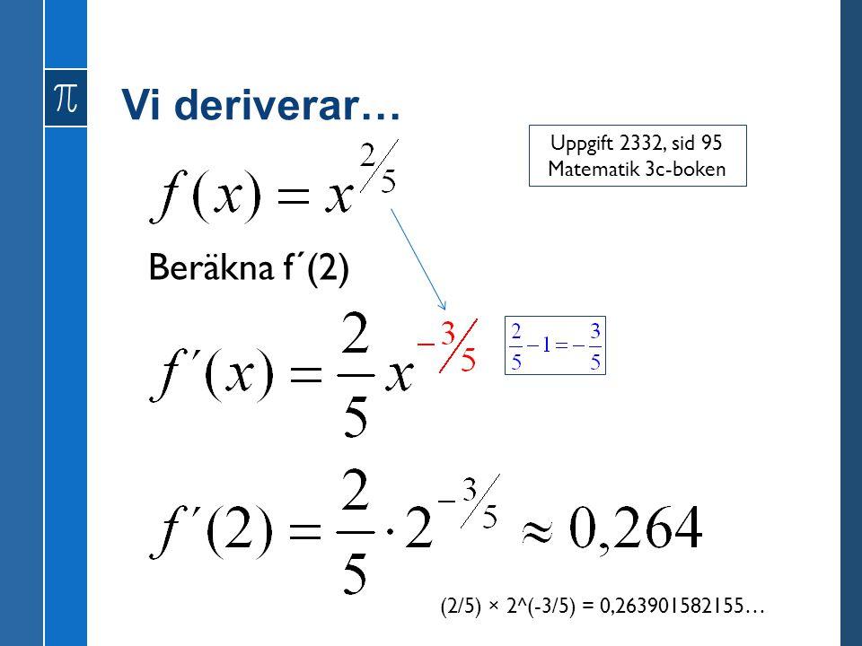Vi deriverar… Beräkna f´(2) Uppgift 2332, sid 95 Matematik 3c-boken