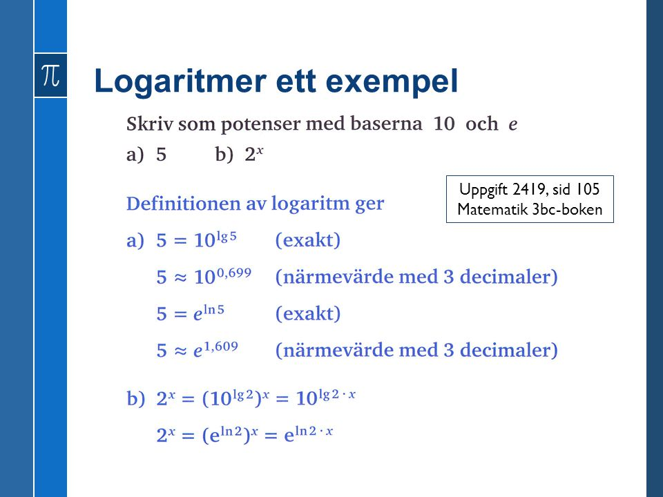 Logaritmer ett exempel
