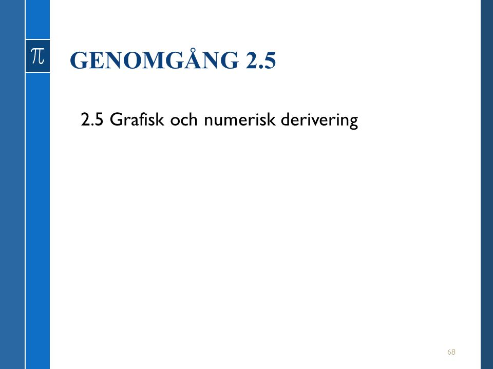 GENOMGÅNG 2.5 2.5 Grafisk och numerisk derivering