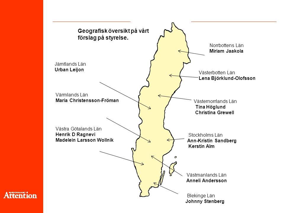 Geografisk översikt på vårt förslag på styrelse.