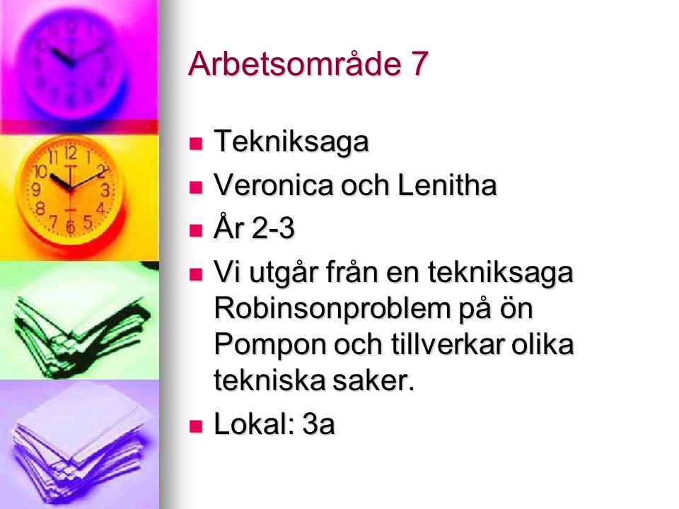 Arbetsområde 7 Tekniksaga Veronica och Lenitha År 2-3