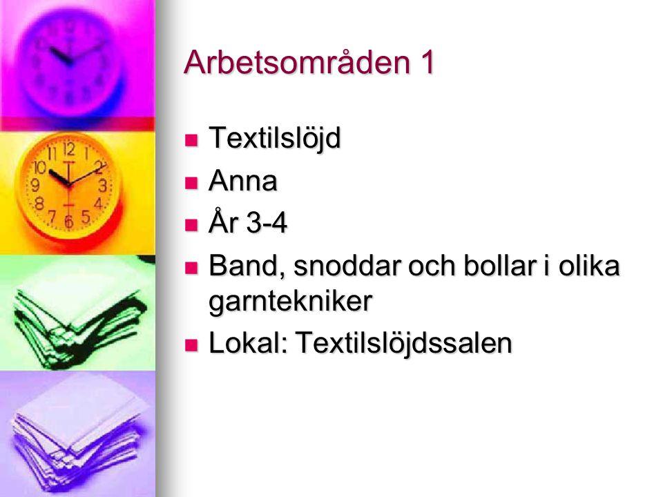 Arbetsområden 1 Textilslöjd Anna År 3-4
